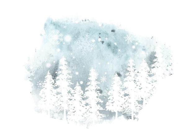 冬の手描きの水彩画。ステンスプラッタ水彩背景に雪と降雪とアートワークトウヒの森のシルエット。