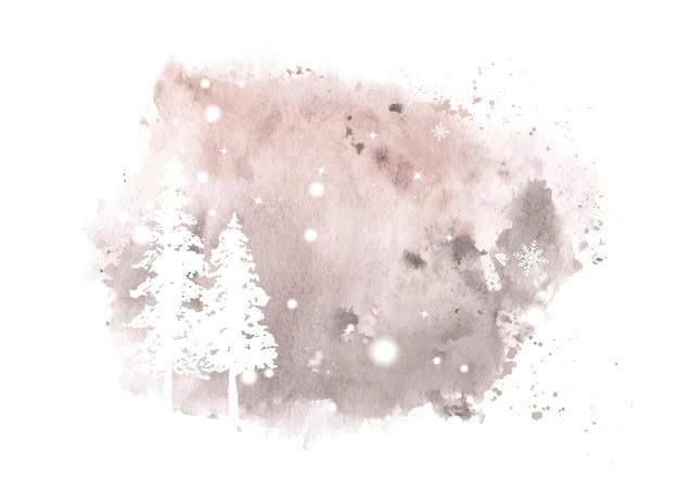冬の手描きの水彩画。ステンスプラッタ水彩背景に雪と降雪の針葉樹アートワーク。