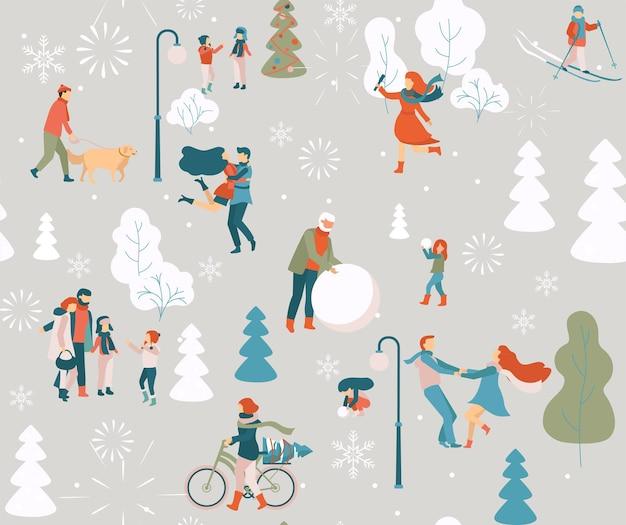 야외 공원에서 산책하는 겨울 행복 한 사람들 원활한 패턴 플랫 스타일