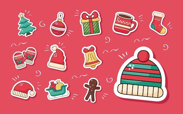 겨울 모자 액세서리 및 세트 스티커 아이콘 일러스트 디자인