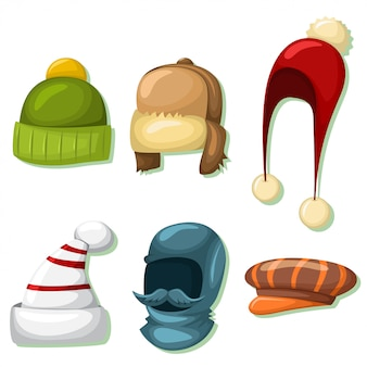 Winter hats and caps set for men and women.