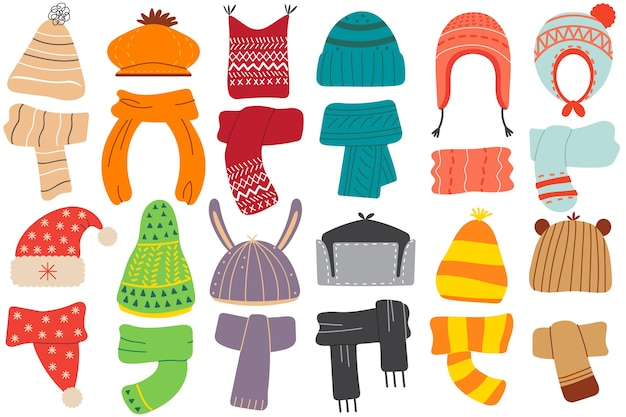 Winter hats. collection of colouring woolen cotton knitting autumnal wintry headwear hats and scarf for kids. childish knitted autumn garment and accessories for cold seasonal weather illustration.