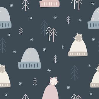 冬の帽子のパターン