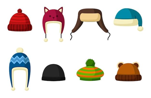 겨울 모자에 고립 된 흰색 배경을 설정합니다. 추운 날씨를위한 뜨개질 모자와 모자. 야외 의류.
