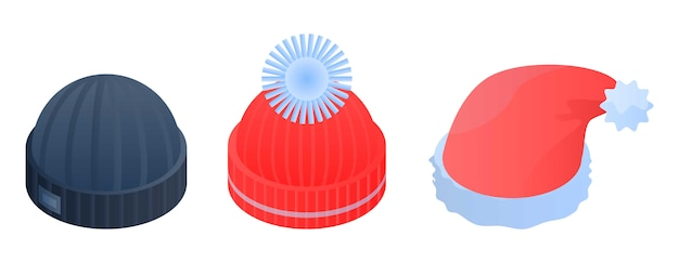 Winter headwear icon set, isometric style