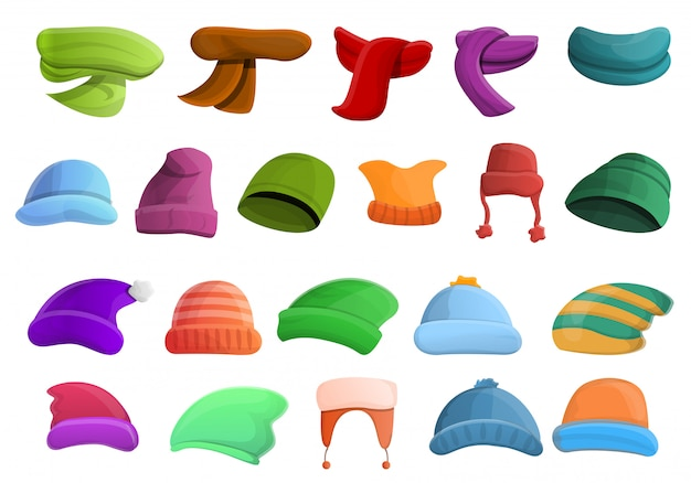 Winter headwear icons set, cartoon style