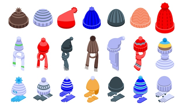 Winter headwear icons set, isometric style