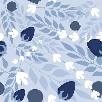 Winter herbal leaves and wild berries seamless pattern.