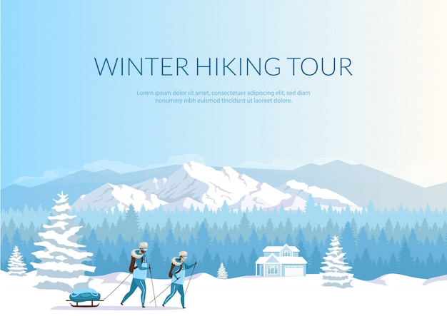 Winter hiking tour banner flat template