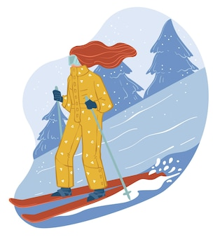 Winter hobbies and relaxation on skiing resort. woman leading active lifestyle going downhill equipped with poles and ski. adventure in wintertime, freeride or competition. vector in flat style