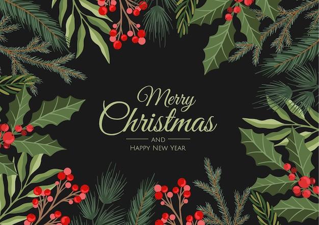 겨울 휴가 배경. 크리스마스 나무 가지와 장식 테두리. 연하장, 배너, 헤더, 파티 포스터에 적합합니다.
