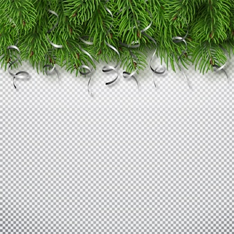 Winter holiday background. border with christmas tree branches and serpentine