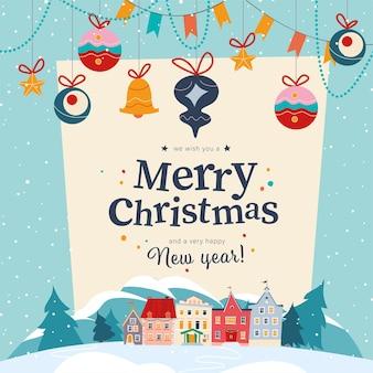 눈 덮인 산의 숲 풍경과 화환에 아늑한 마을이 있는 겨울 휴가 배너, 전나무 장난감이 매달려 있습니다. 벡터 만화 평면 그림입니다. 카드, 패키지, 배너, 초대장, 포스터 디자인용.