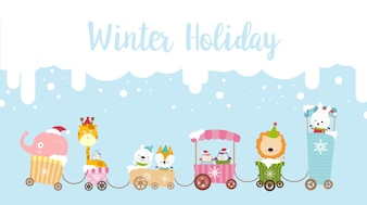 Winter holiday calligraphy text with animal cartoon 001