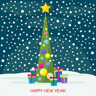 밤 숲에 스프루스와 많은 밝은 색 선물이 있는 겨울 휴가 카드 배경