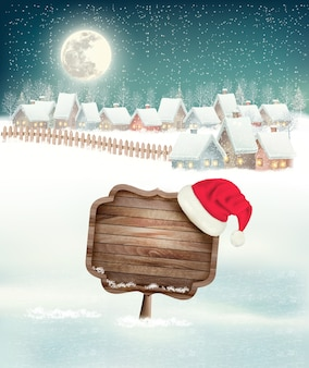 Winter holiday christmas background with a village, a sign and a santa hat.