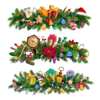 Winter holiday, christmas decorative compositions