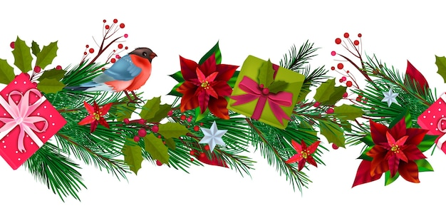 Winter holiday christmas seamless border with bullfinch, gift boxes, fir branches, holly, berries