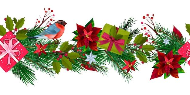 Зимний праздник рождество бесшовные граница со снегирем, подарочные коробки, еловые ветки, падуб, ягоды