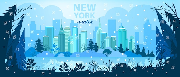 Winter holiday city christmas background with skyscrapers, pine trees silhouette, snow, lake