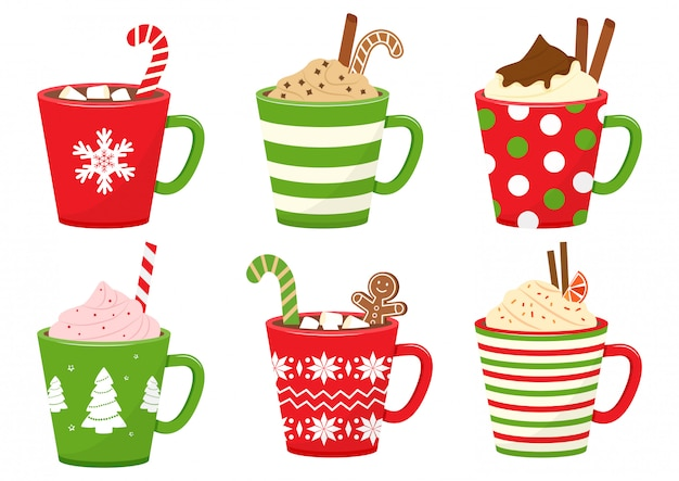 Winter holiday cups with hot drinks. mugs with hot chocolate, cocoa or coffee, and cream. gingerbread man cookie, candy cane, cinnamon sticks, marshmallows.