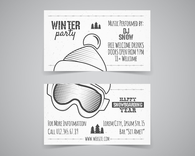 Зимний праздник события шаблоны флаер.