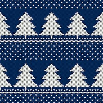 겨울 휴가 니트 패턴 크리스마스 트리 장식