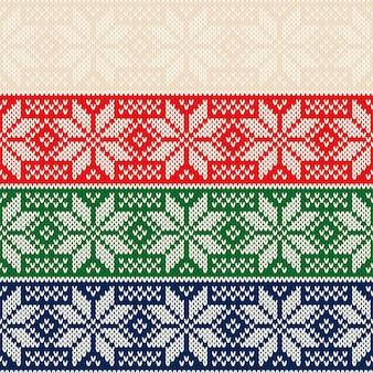 クリスマスの星飾りと冬の休日のニットセーターパターンデザイン
