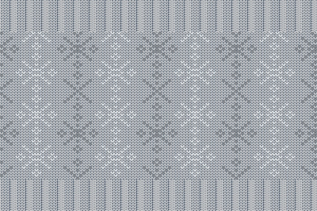 チェック柄のセーターデザインの冬休み編みパターン。雪片と灰色のシームレスなパターン。