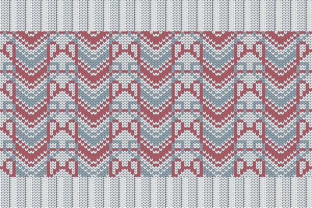 チェック柄のセーターデザインの冬休み編みパターン。ゴムバンド付きのグレー、レッドカラーのシームレスパターン。プレーンとリブ編み。