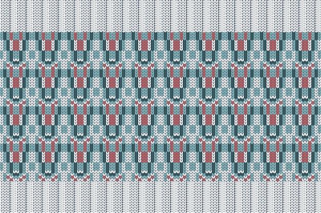 チェック柄のセーターデザインの冬休み編みパターン。白、ターコイズ、赤のシームレスパターンとゴムバンド。プレーンとリブ編み。