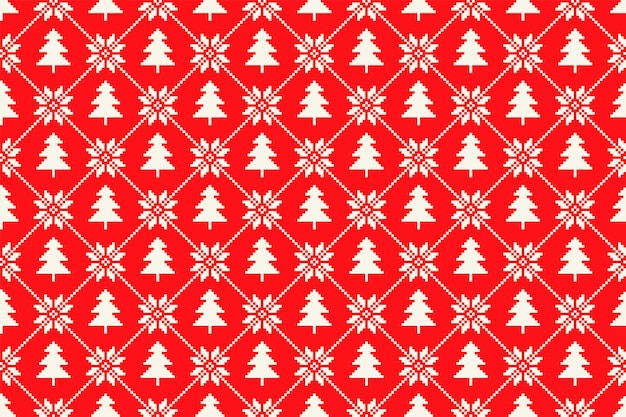 クリスマスツリーの飾りと冬の休日のピクセルパターン