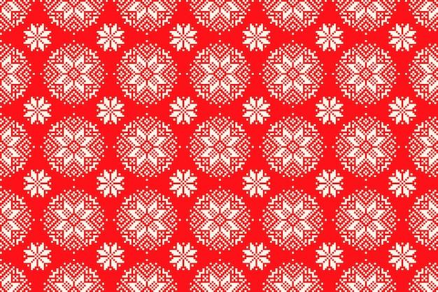 シームレスな雪片の飾りと冬の休日のピクセルパターン