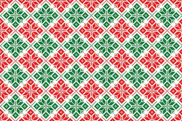 伝統的なクリスマスの星飾りと冬の休日のピクセルパターン