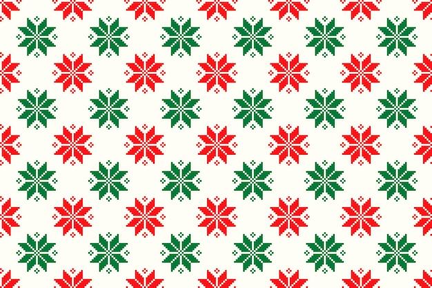 クリスマススターアーガイル飾りと冬の休日ピクセルシームレスパターン