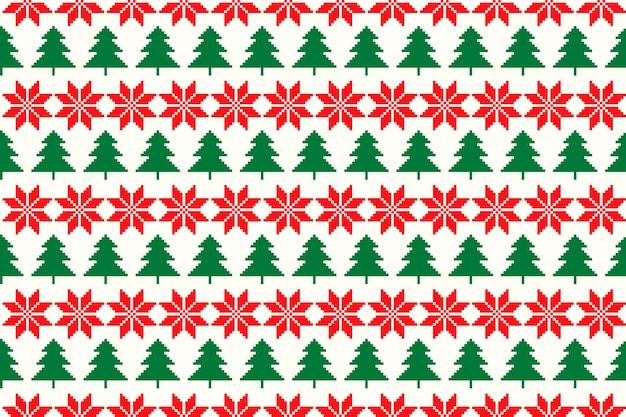 クリスマスツリーとクリスマススターアーガイル飾りと冬の休日ピクセルシームレスパターン