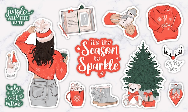 Winter holiday planner stickers with a girl, quotes and objects