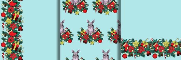 겨울 휴가 식물 및 개체 원활한 패턴 및 테두리 설정 크리스마스와 새해 월페이퍼