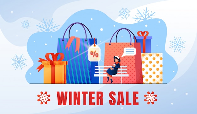 Winter holiday sale flat promo banner