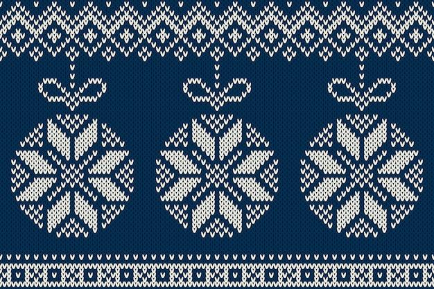 Зимний праздник бесшовные вязаные модели с елочными шарами
