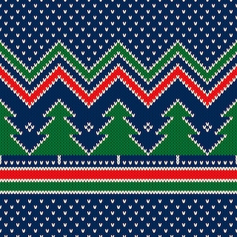 크리스마스 나무 장식으로 겨울 휴가 원활한 니트 패턴