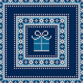 Winter holiday seamless knitted sweater pattern design with a gift box wool knit texture imitation