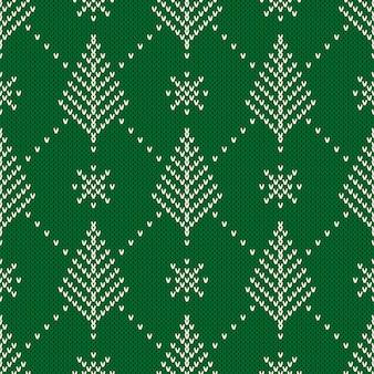 クリスマスツリーと冬の休日のシームレスな編みパターン。ニットセーター。