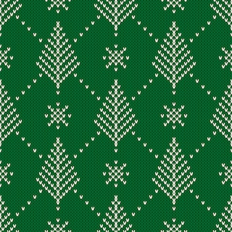 Winter holiday seamless knitting pattern with a christmas tree. knitted sweater.