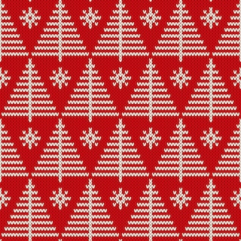 Winter holiday seamless knitting pattern with a christmas trees. knitted sweater