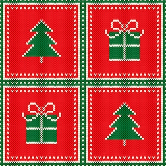 Winter holiday seamless wool knit texture background with christmas tree and gift box ornament