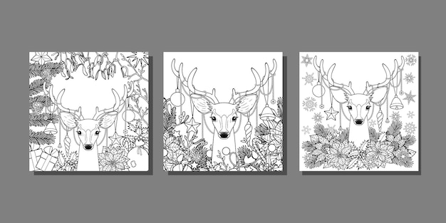 Winter holiday templates set for greeting cards
