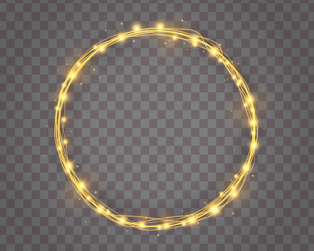 Winter holiday wreath and christmas tree string garlands of glowing golden light bulbs in circle shape isolated. light bulb decor. lights border.