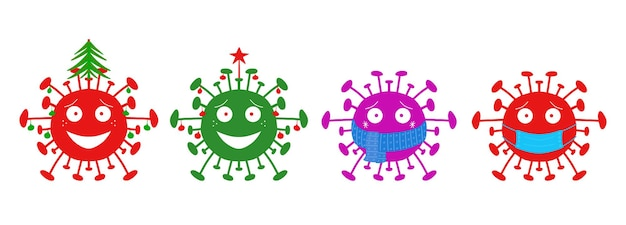 Зимние каникулы мультфильм коронавирусных бактерий, изолированных на белом фоне.