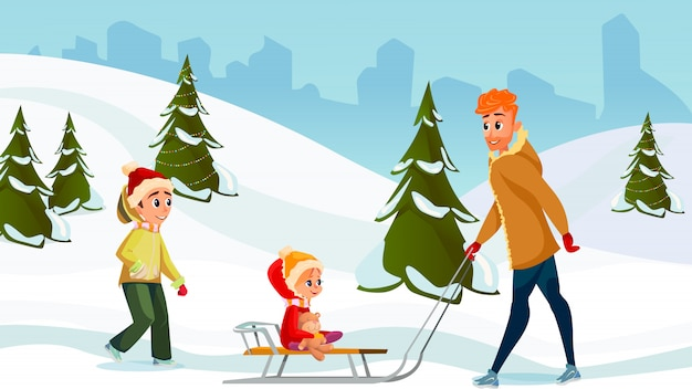 Winter holidays cartoon dad son daughter together